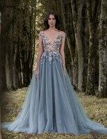 Paolo Sebastian 2017 Prom Dresses 3D Floral Appliques Short Sleeve Lace Dress Evening Wear Sheer Neck Flower Vintage Long Formal