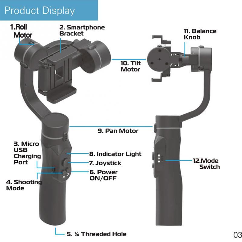 Stabilisateur de cardan portable Flexible 3 axes pour iPhone Xs Max Xr X 8 Plus 7 pour Huawei pour Samsung S9, 8 support pour téléphone extérieur PTZ - 5