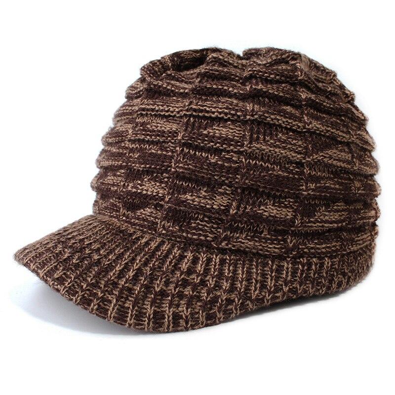 Bekleidung Zubehör Herbst Winter Unisex Gestrickte Warme Erreichte Caps Farbige Warme Wolle Visiere Hut Winter Im Freien Kalt Beweis Hüte Hüte Für Frauen Visiere