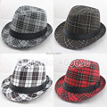 Plaid Fedora Hats For Women Chapeau Feminino Men's Trilby Panama Hats Jazz Caps 10pcs/lot Free Shipping CSDB-004