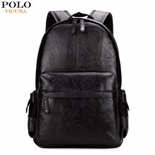 dfd8a2abf3ac7 VIKUNJA POLO Berühmte Marke Adrette Leder Schule Rucksack Tasche Für  College Einfache Design Männer Casual Daypacks