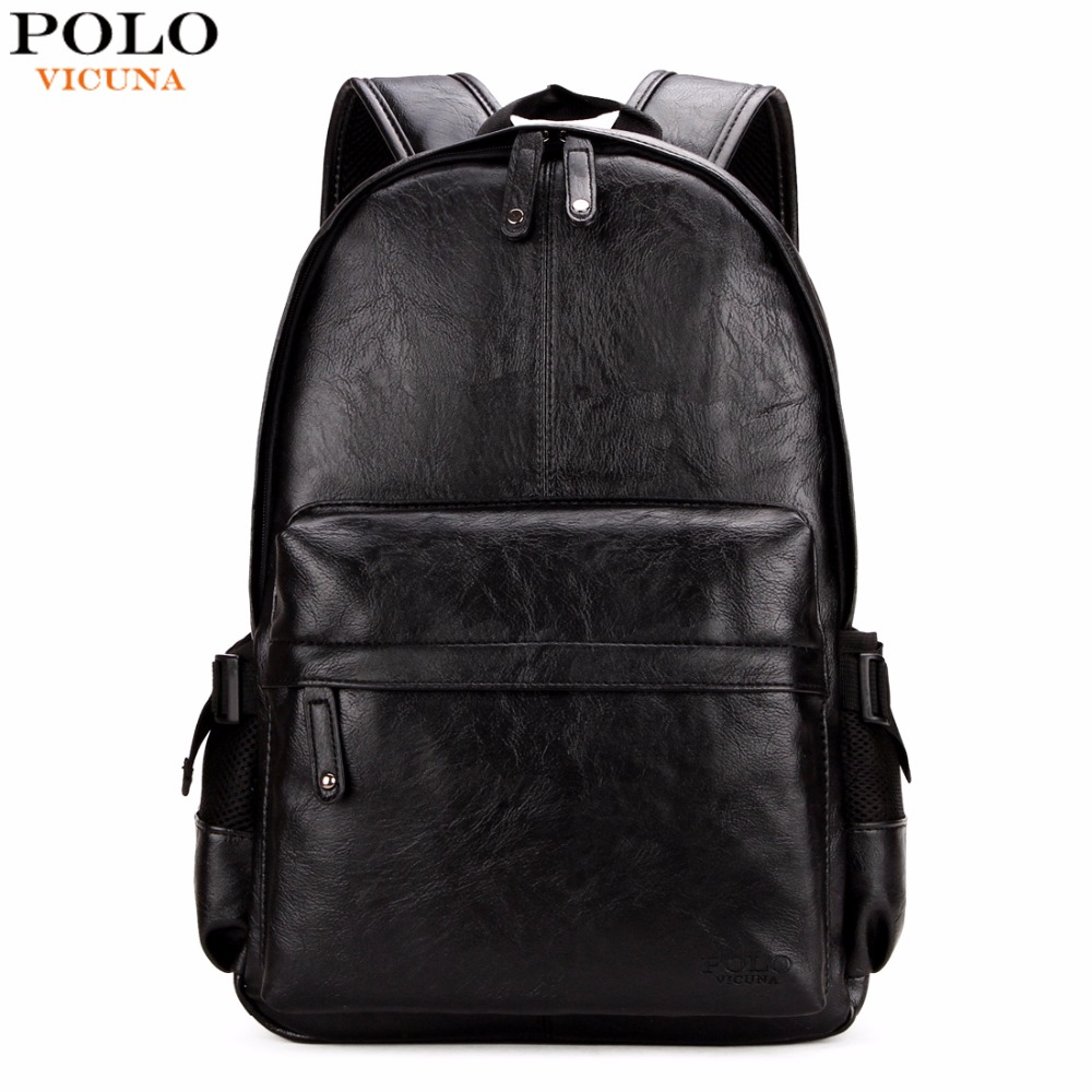 VICUNA POLO Famous Brand Preppy Style <font><b>Leather</b></font> School <font><b>Backpack</b></font> Bag For College Simple Design Men Casual Daypacks mochila male New