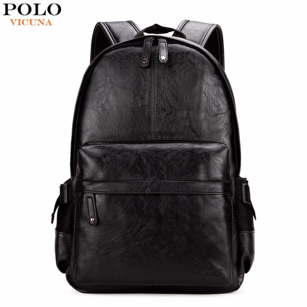 Prix pour Vicuna polo célèbre marque preppy style sac d'école en cuir sac pour le collège simple conception hommes casual daypacks mochila mâle nouveau