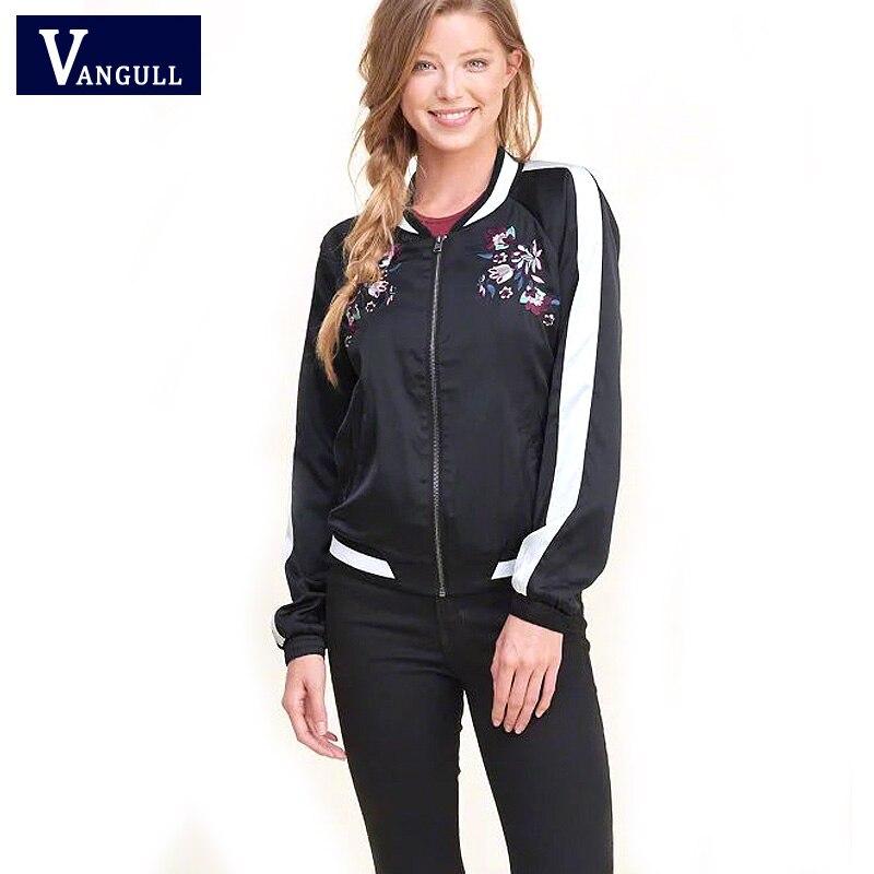 Vangull Spring Harajuku Embroidery Bomber   Jacket   2018 Autumn Women   Basic     Jackets   Coats Winter Pilots Outerwear Jaqueta Feminina
