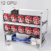 Aluminum Open Air Mining Rig Stackable Frame Case For 12 GPU ETH BTC Ethereum New Computer