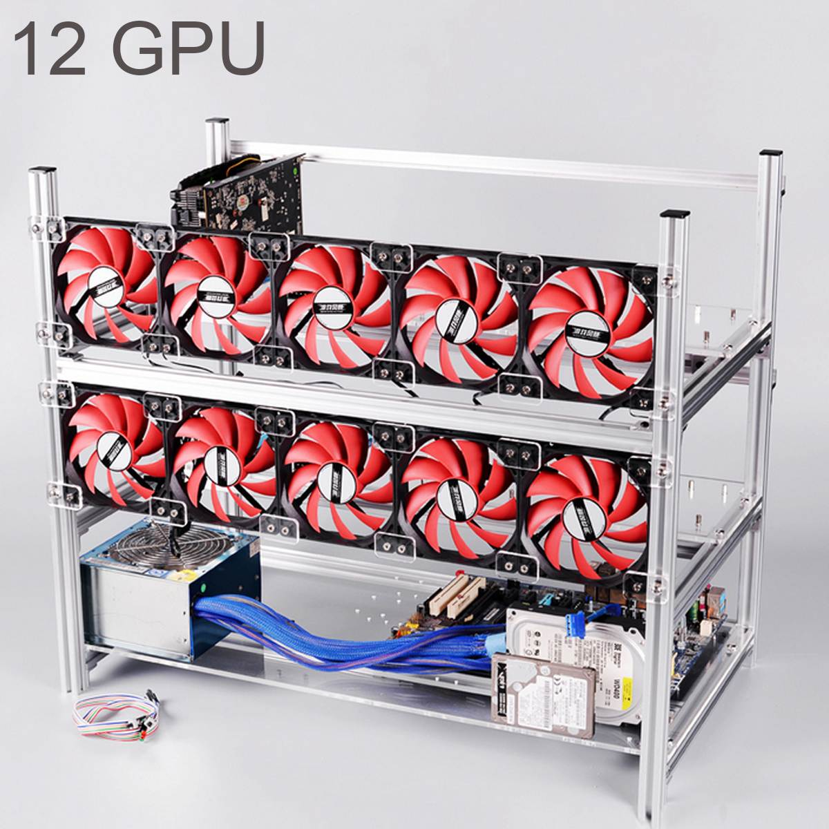 Aluminum Open Air Mining Rig Stackable Frame Case For 12 GPU ETH BTC Ethereum New Computer Mining Case Frame Server Chassis new 4u industrial computer case parkson 4u server computer case huntkey baisheng s400 4u standard computer case