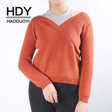 HDY Haoduoyi Brand Women Brown/Grey Casual Sweaters Cold Shoulder Sexy Pullovers Female Long Sleeve Patchwork Tops Lady