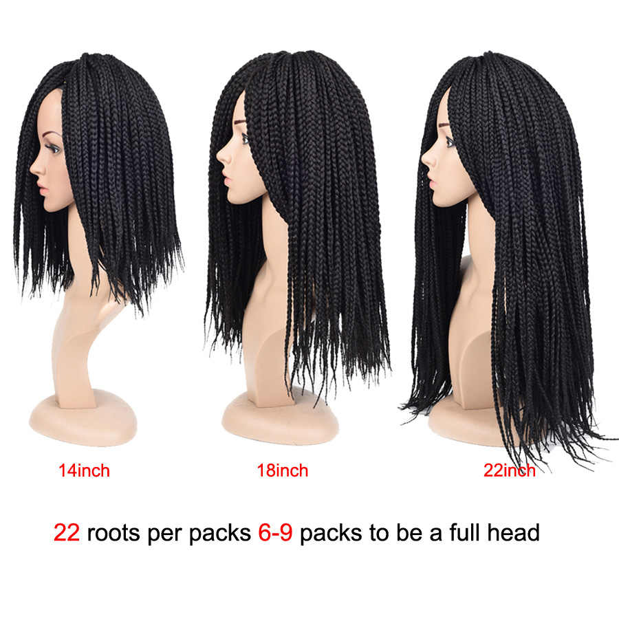 "TOMO Box Braids Hair 14"" 18"" 22"" Ombre Crochet Braids 22Roots Synthetic Hair for Braid Crochet Hair Extensions Black Brown Red"