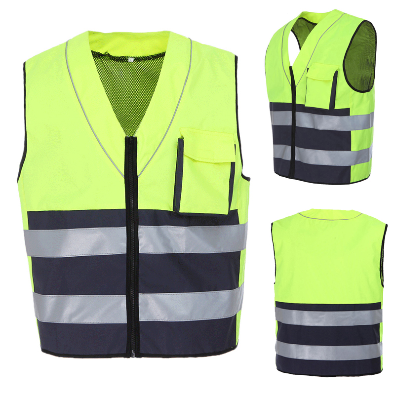 Reflective vest motorcycle safety jacket hi vis jacket workwear oxford reflective safety vest strips