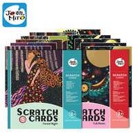 1 Set 6 stücke 20x15cm Magie Farbe Scratch Kunst Papier Färbung Karten Schaben Zeichnung Spielzeug für Kinder