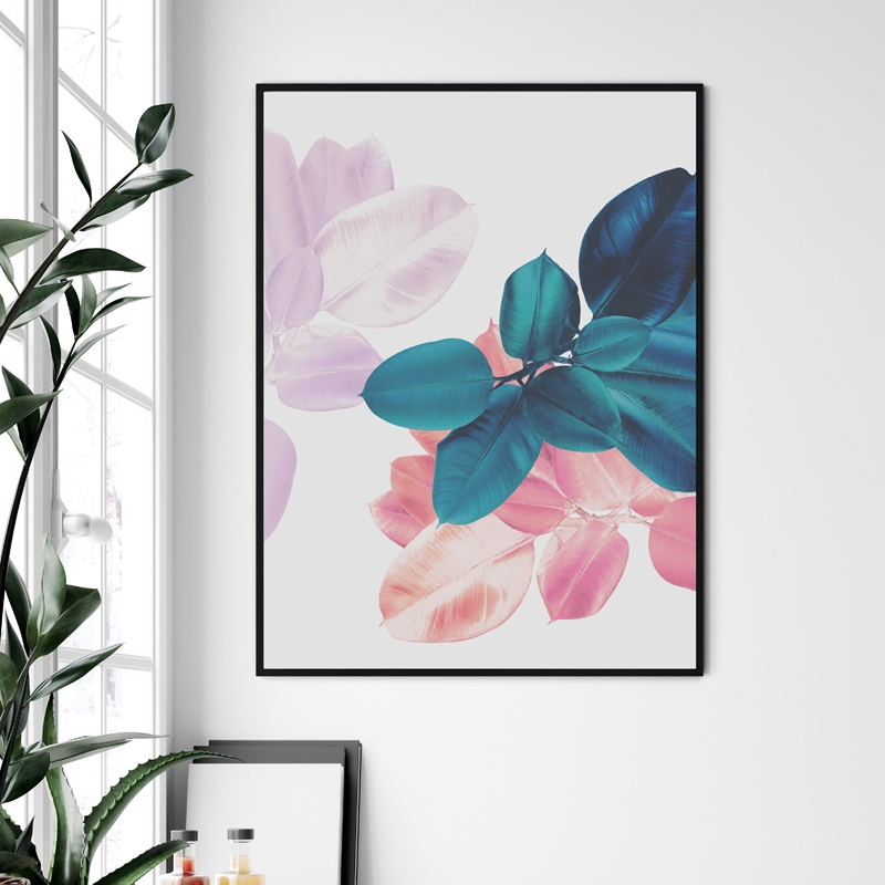 Leaves canvas print living room decor