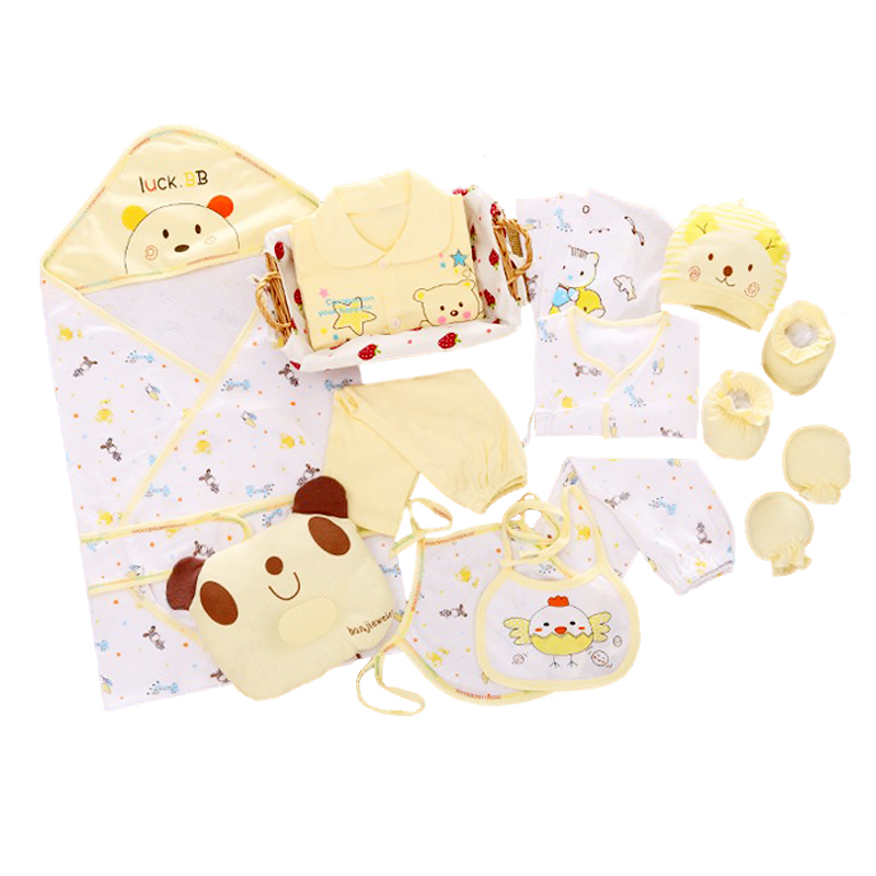 все цены на 100% cotton 17pcs/set New born underwear clothes sets with baby blanket and pillow High quality newborn baby clothing gift set онлайн