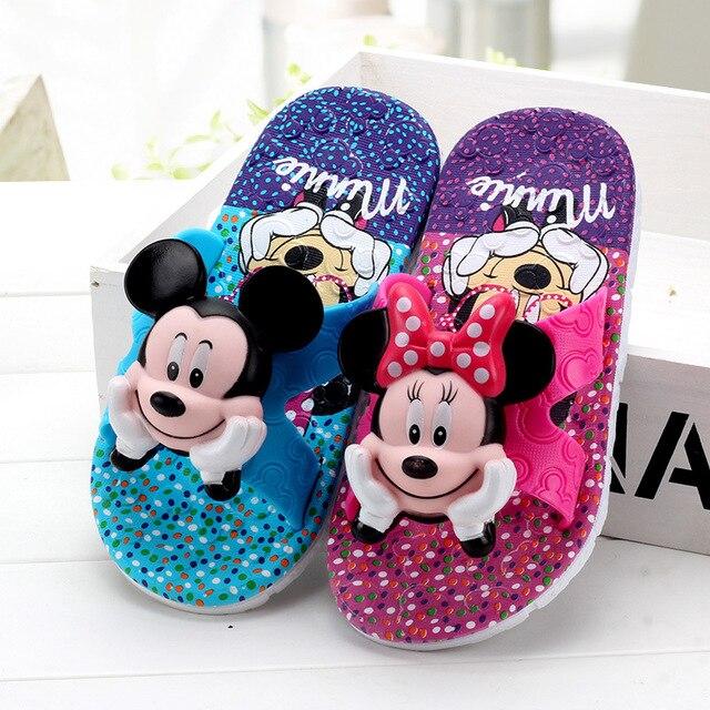 בני בנות כפכפים קיץ flip flop סנדלי ילדים 3D cartoon מיקי minne בית ספר בנות חוף כפכפים ילדי נעלי סנדל