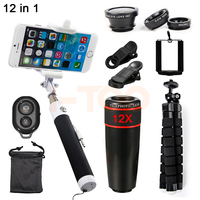 HD 12X Zoom Telephoto Lens Fisheye Wide Angle Macro Lentes For IPhone Cell Phone Lenses Telescope