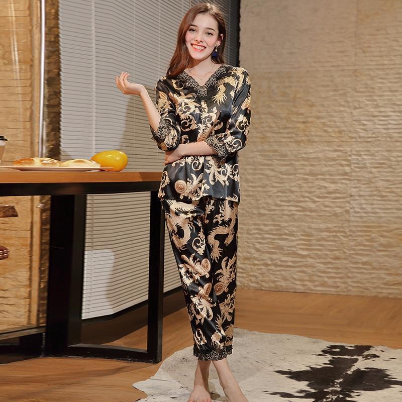 New Satin Silk Pajamas Set ladies Luxury Chinese Dragon Pattern Two Piece  Pyjamas Set Women Home Clothes Suits Nightwear -in Pajama Sets from  Underwear ... 05ca6bc27