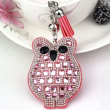Crystal Owl keychain fashion key chain ring holder women bag&car accessories Inventory Clear Warehouse Big Promotion(China)