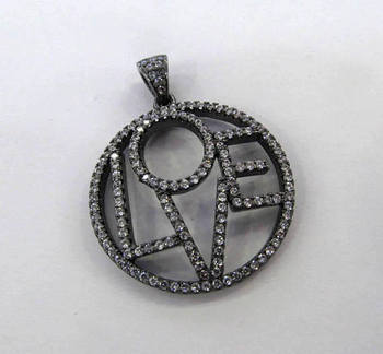 Off 10%--6pcs Pave Micro Crystal Pave Diamond Pendant 35mm Jewelry Focal Letters Round Disc Gunmetal Flower Pave Connetor beads