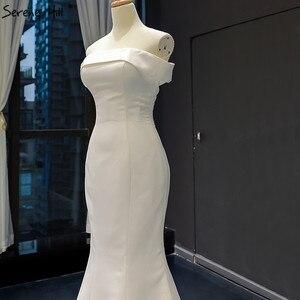 Image 5 - Branco barco pescoço cetim sexy vestidos de noite 2020 de alta qualidade fora do ombro vestido formal simples foto real 66833
