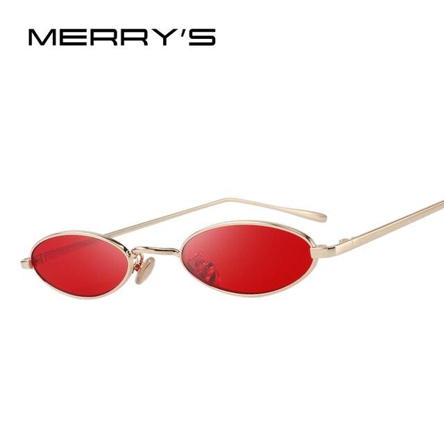 MERRY S PROJETO Mulheres Moda Pequeno Oval óculos de Sol Proteção UV400  Lente Vermelha S 6119 98b4843739