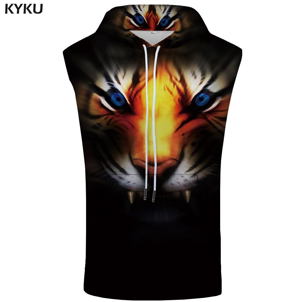 KYKU Tiger Hooded   Tank     Top   Men Animal Sleeveless Head Eye 3d Printed Fitness Black Stringer Muscle Mens Clothing Summer   Tops   New