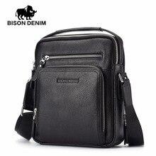 BISON DENIM 100% Echtes Leder männer Messenger Bag Business Rindsschulter Crossbody-tasche Weihnachtsgeschenk