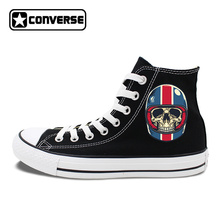 Фотография Women Converse Original Shoes Design Motorcycle Racing Helmet Skulls Canvas Shoes for Men Sneakers Brand Chuck Taylors