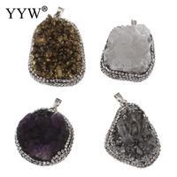 Natural Stone Quartz Rhinestone Clay Pave Zinc Alloy Necklace Pendants NO Chain Irregular Necklace Women