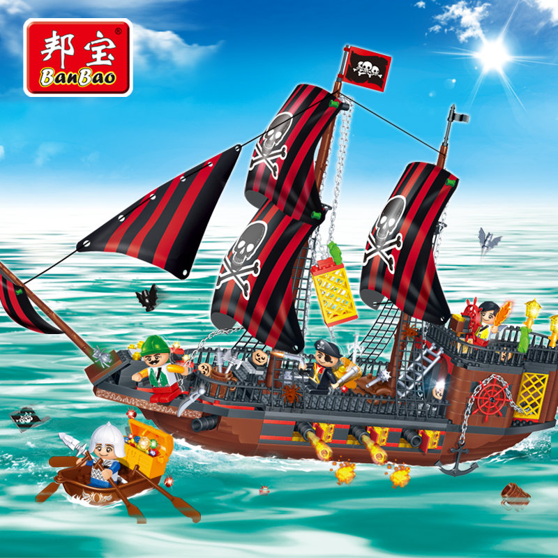 BanBao Pirate Educational Building Blocks Toys For Children Gifts Pirate Ship Boat Weapon banbao kung fu educational building blocks toys for children kids gifts super hero sky of evil temple chinese style