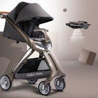 Роскошная детская коляска красивый пейзаж для детей коляска foldbale Новая модная детская коляска со светодиодный налобной лампой высокого кл