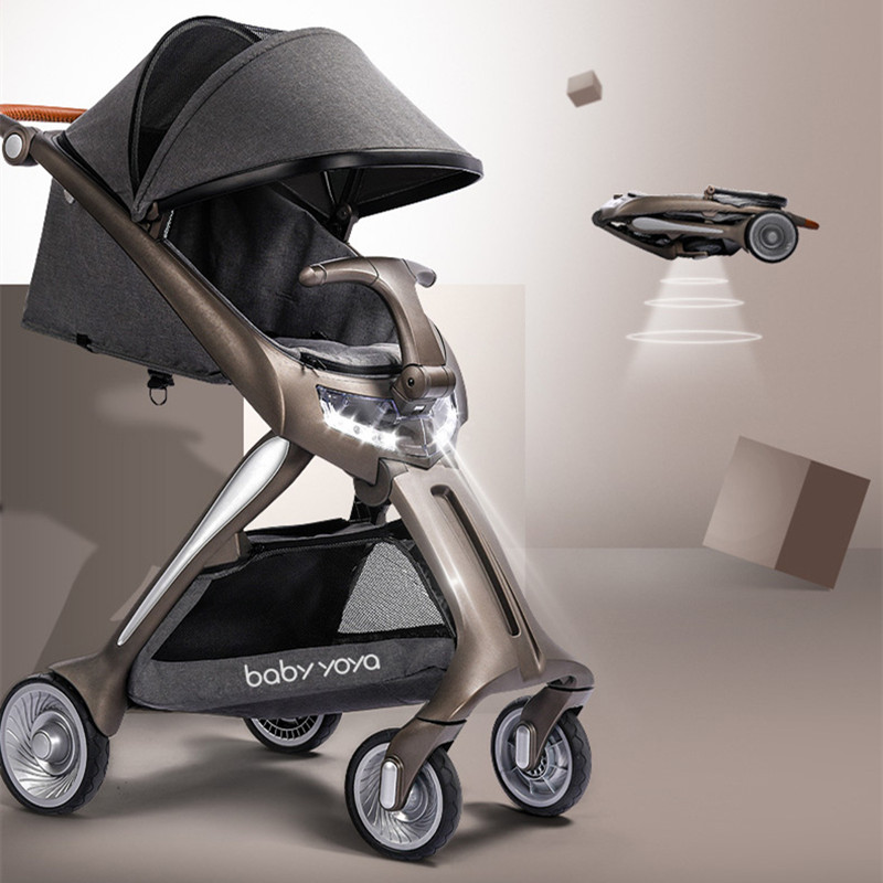 Luxury baby carriage high landscape baby stroller foldbale new fashion baby pram with LED headlamp high-end trolley for newborns