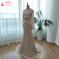 Fashion Outside Wedding Dress with High Neck Extended Sleeve Full Open Back Amazing Spring Summer Beach Lace Wedding Gown ZW087