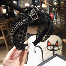 Korea Flowers Hand Made Embroidery Black Retro Hair Accessories Diamond Band Bows Flower Crown Headbands For Women 4
