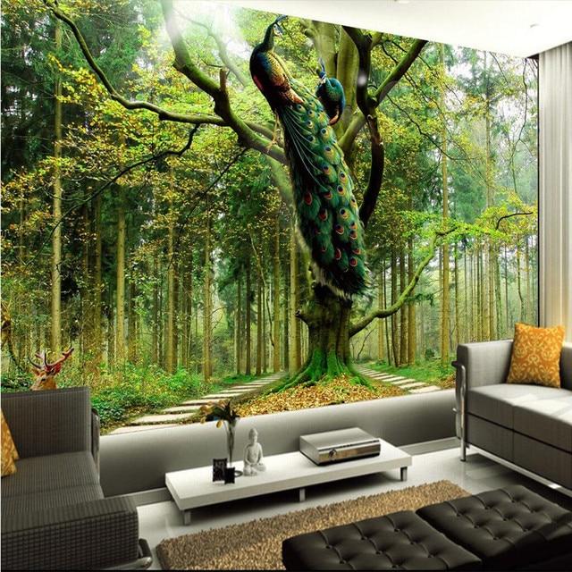 Buy Home Decor Photo Backdrops Wallpaper For Living Room Peacock Tree Deer