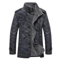 Autumn Winter Pure Color Plus Velvet Men's Long sleeved Jackets 3XL Gray Khaki Fashion Business Casual Men Coats Slim Elegant