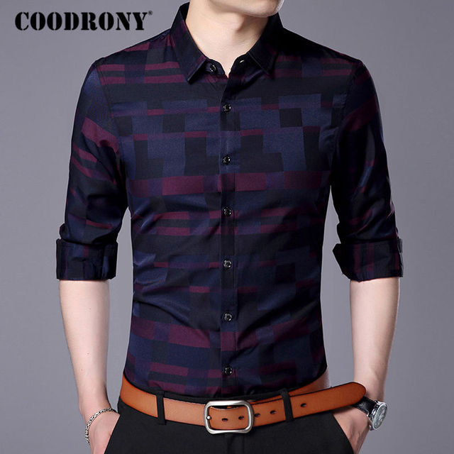 Mens Business Casual Shirts New Arrival Famous Brand Clothing Plaid 3