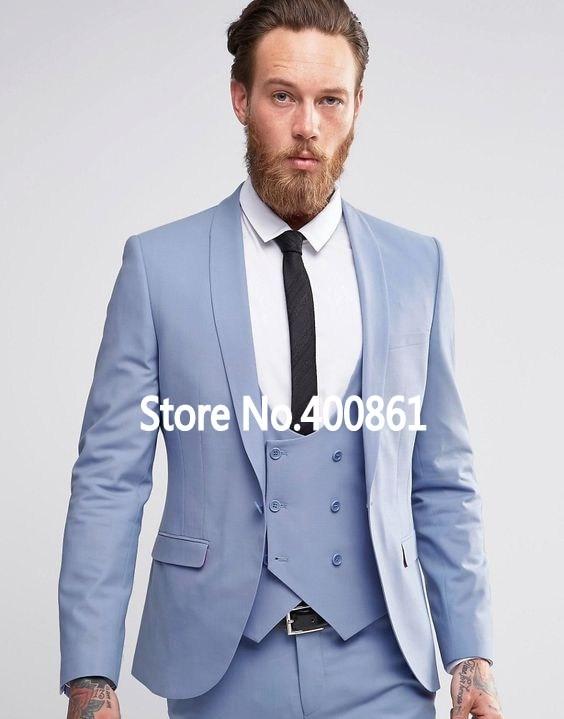 New Fashion Light Blue Mens Dinner Party Prom Suits Groom Tuxedos Groomsmen Wedding Blazer Suits (Jacket+Pants+Vest+Tie) K:2187