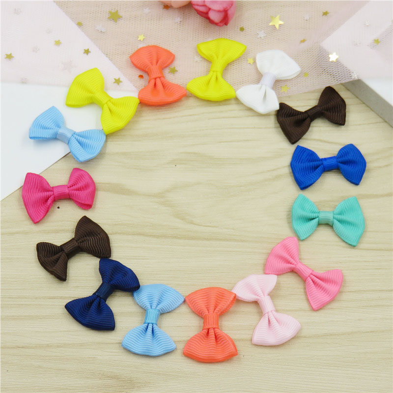 20PCS/LOT Lovely Solid Small Bows Hairpin For Girls Handmade Child Elastic Hair Bands Scrunchy Clip Hair Accessories For Kids