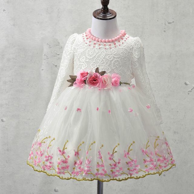 Elegante Vestido Da Menina Meninas 2017 Moda Primavera Laço Cor de Rosa Grande Festa Arco Flor de Tule Vestidos de Casamento Da Princesa vestido Da Menina Do Bebê, 3-9Y