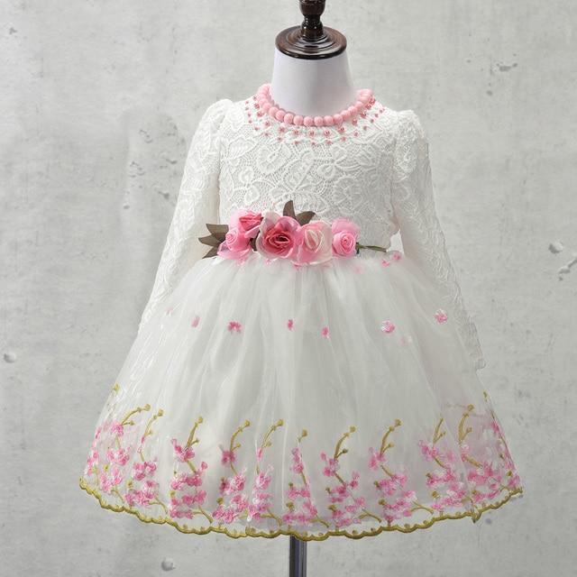 d92c5a599 Elegante Vestido de Niña de las Niñas 2017 Primavera Moda de Encaje de Color  Rosa Arco
