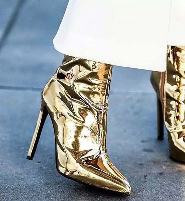 Sliver Gold Women Ankle Boots Pointed Toe High Heel Boots Mirror Metallic Women Pumps Female Sexy Stiletto Boots