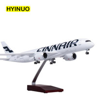 47CM Finland FINNAIR Airline Model 1/142 Scale Airplane Airbus A350 W Light and Wheel Diecast Plastic Resin Plane For Collection