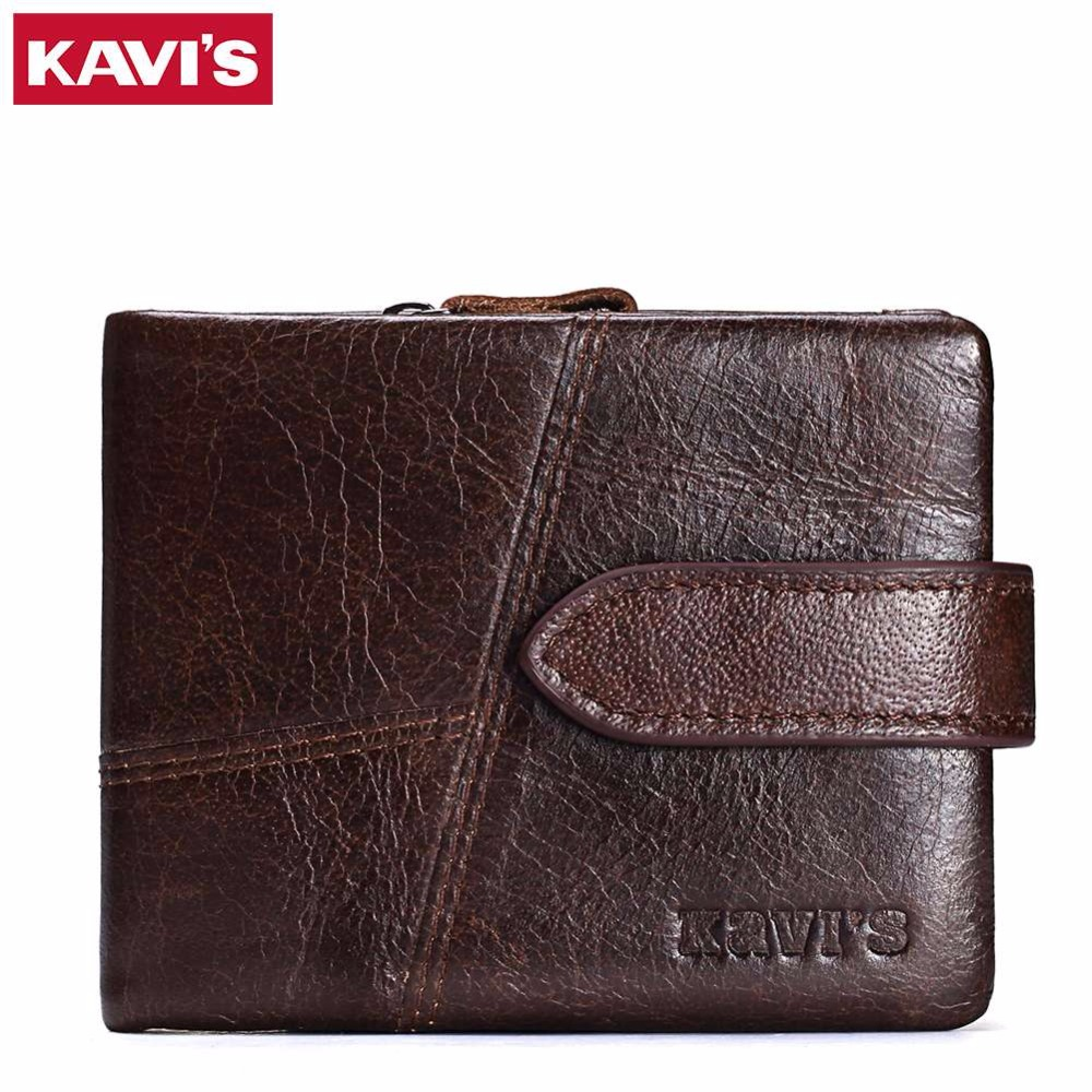KAVIS 2017 New Arrival Genuine Leather Men Wallet Fashion Purse With Card Holder Retro Male Short Design Purse with Coin Zipper