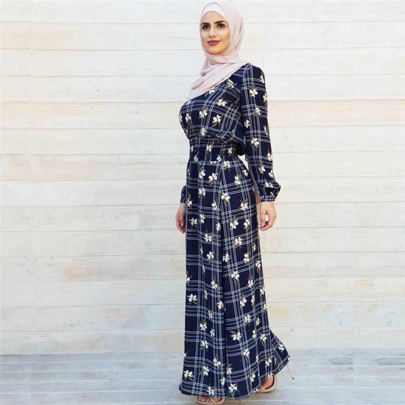 Abaya Femme Dubai Marocchino Turco Turchia Vestito Delle Donne Musulmane Bangladesh Caftano Abbigliamento Islamico Stampa Blu Robe Sciarpa del Hijab