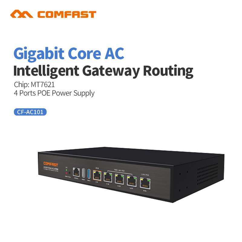 Comfast Gigabit AC Wifi Load Balancing Gateway Routing Core Gateway + 4 Port Poe Switch Multi Wan Wi Fi Roaming Access AC Router