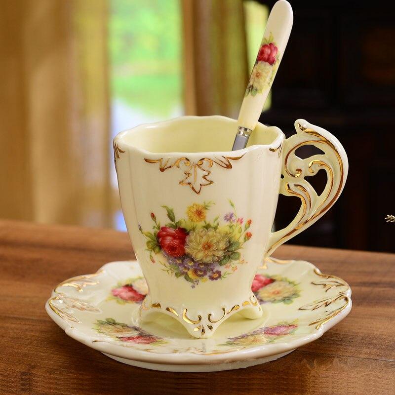 Luxury Ivory Porcelain Cups And Saucers European Afternoon Tea Set Elegant Coffee Ceramic Mugs