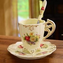 Luxus-elfenbein Porzellan Tassen Und Untertassen Europäische Nachmittagstee Set Elegante Kaffee Keramik Tassen