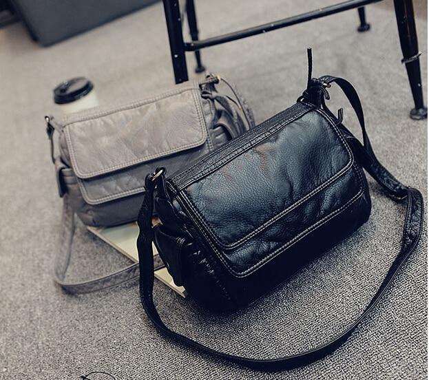 2017 fashion women&#8217;s small handbag soft leather casual shoulder messenger small <font><b>bag</b></font> female handbag black/gray j-895