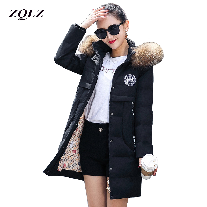 ZQLZ Thick Warm Winter Jacket Women Hooded Casual Long Cotton Parka Mujer 2018 Slim Faux Fur Black Pedded Coat Femme