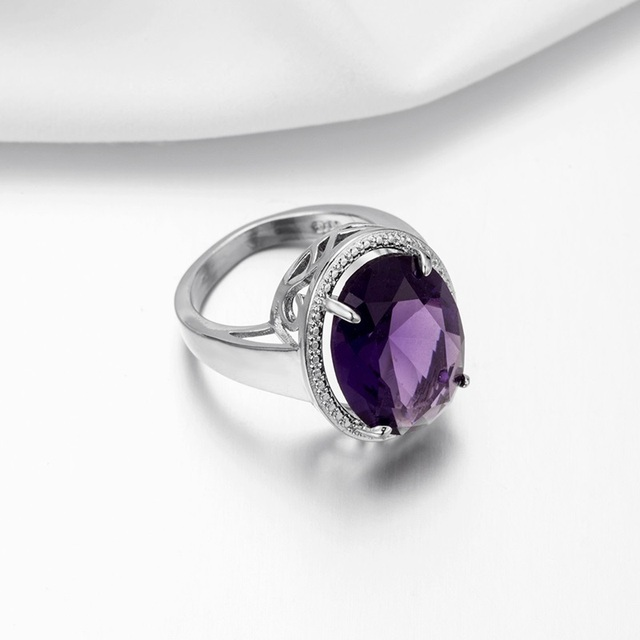 OMHXZJ Wholesale European Fashion Woman Man Party Wedding Gift Silver Purple Oval Amethyst 925 Sterling Silver Ring RR06 1