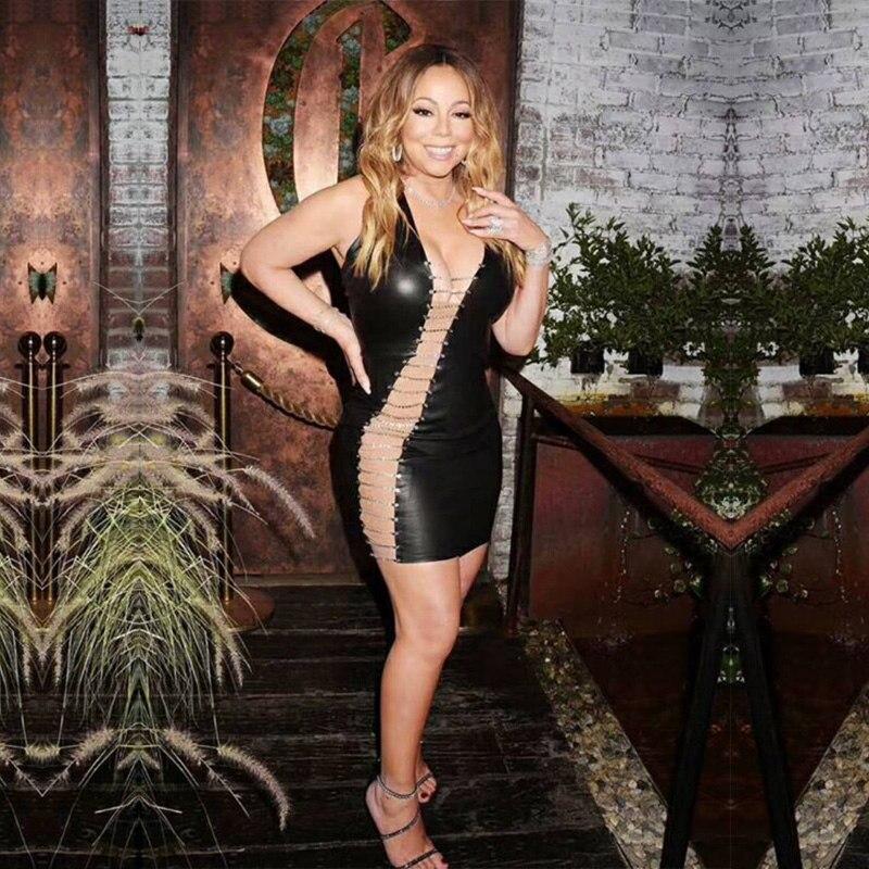 Лидер продаж, женское модное платье из искусственной кожи 2018, Новое сексуальное черное платье без рукавов с вырезами, облегающее летнее веч